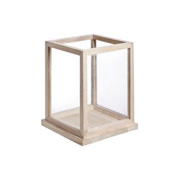 Cosy @ Home Windlicht Hout Glas 26x26xh32cm