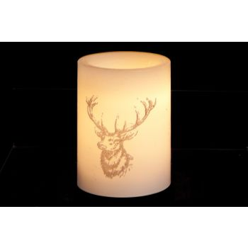 Cosy @ Home Kaars Led Wit Hert Brons 7.5x10cm