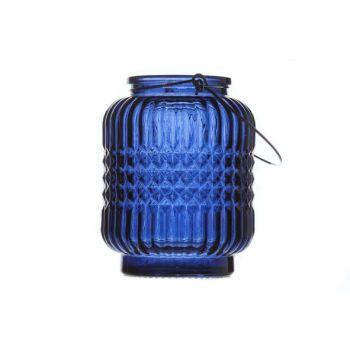 Cosy @ Home Lantaarn London Glas D.blauw 9x9x12cm
