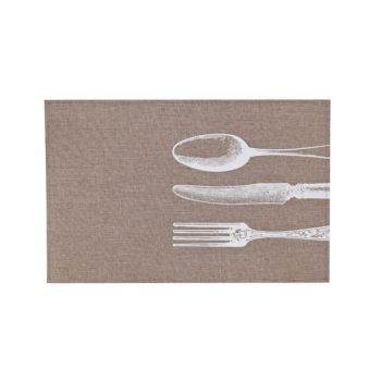 Cosy & Trendy Placemat Poly-linen Bruin -print Wit