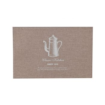 Cosy & Trendy Placemat Poly-linen Bruin -print Zilver