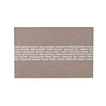 Cosy & Trendy Placemat Polylinen Bruin-print Wit Tekst
