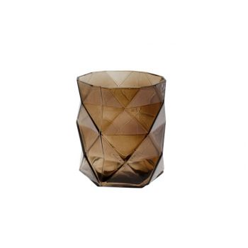 Cosy @ Home T-lichth Geometrisch Donkerbruin 8x8x9cm