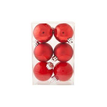 Cosy @ Home Kerstbal Set6 Glitter Rood D6cm