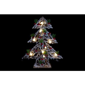 Cosy @ Home Kerstboom Snowy Hout 15led 40x12xh52cm