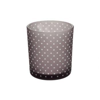 Cosy @ Home Theelichth Grey Dots D7xh8cm Glas