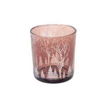 Cosy @ Home Theelichth Kerst Scene Bruin D7x8cm