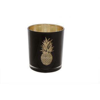 Cosy @ Home Theelichtglas Ananas Zwart-goud 8.5x10cm