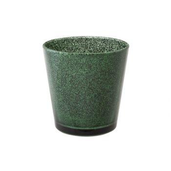 Cosy @ Home Theelichtglas Glitter Donkgroen 7xh7,5cm