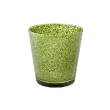 Cosy @ Home Theelichtglas Glitter Groen D7xh7,5cm