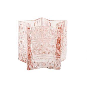 Cosy @ Home Star Theelichtglas Roze D10xh8cm