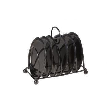 Cosy & Trendy S7 Houder Met 6 Onderzetters Zwart 10cm