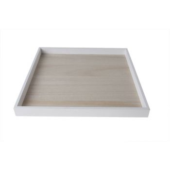 Cosy @ Home Plateau Kader Wit Hout 30x30xh2.5cm