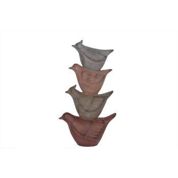 Cosy @ Home Beeld Vogel Piramide Roze Grijs 22x11x40