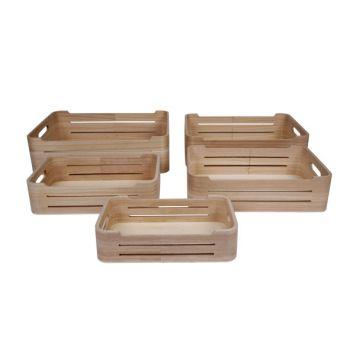 Cosy & Trendy Opbergboxen Set5 Pln Hout  36x26x10cm
