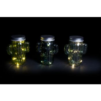 Cosy @ Home Cactus Led 3 Types Groen Glas 11,5xh14,5cm