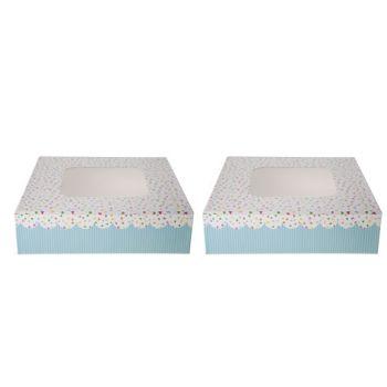 Cosy & Trendy Taartdoos Set2 Vierkant 23x23xh8cm Dots