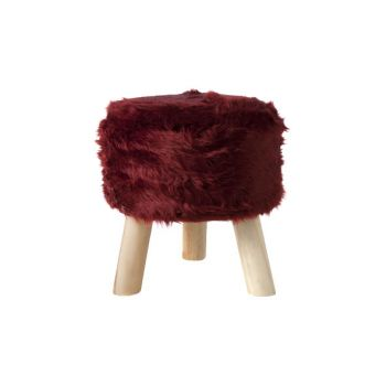 Cosy @ Home Kruk  Bordeaux Rond Wol 35x35xh0 With Ha