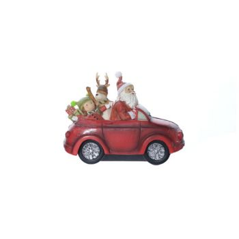 Cosy @ Home Kerstman In Auto Rood Polyresin 21,8x9,8