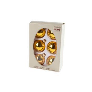 Cosy @ Home Kerstbal Set6 Shiny Oker 7cm Glas