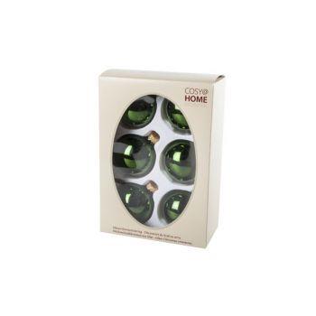 Cosy @ Home Kerstbal Set6 Shiny Groen 7cm Glas