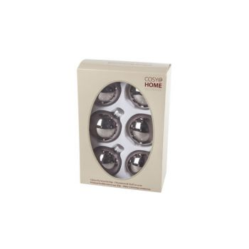 Cosy @ Home Kerstbal Set6 Shiny Taupe 7cm Glas