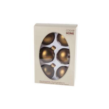 Cosy @ Home Kerstbal Set6 Mat Brass D7cm Glas