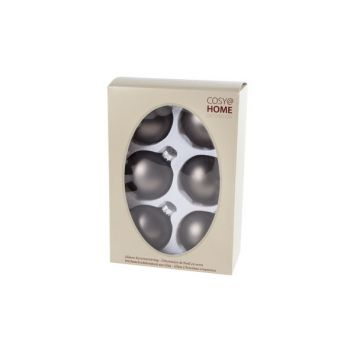 Cosy @ Home Kerstbal Set6 Mat Taupe D7cm Glas
