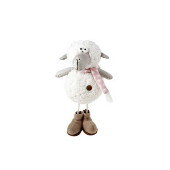 Cosy @ Home Schaap Wit Textiel 18x15xh34 Standing