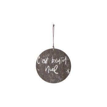 Cosy @ Home Hanger Ornament Grijs Hout D15 Glitter