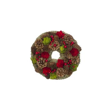 Cosy @ Home Krans  Rood-groen Rond Hout 25x25xh8 Pin
