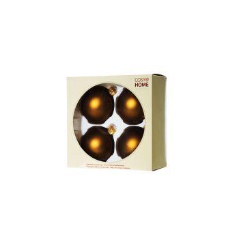 Cosy @ Home Kerstbal Set4 Mat Brass D8cm Glas