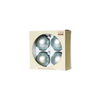 Cosy @ Home Kerstbal Set4 Mat Lichtblauw D8cm Glas