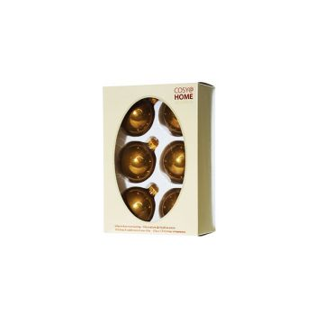 Cosy @ Home Kerstbal Set6 Pearl Brass 7cm Glas