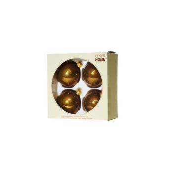 Cosy @ Home Kerstbal Set4 Pearl Brass D8cm Glas