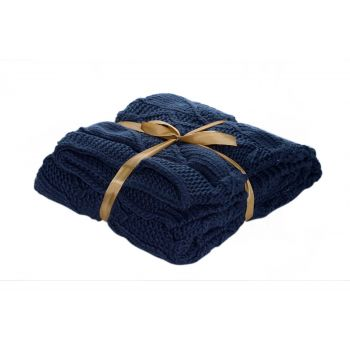 Cosy @ Home Plaid Donkerblauw Rechthoek Textiel L130