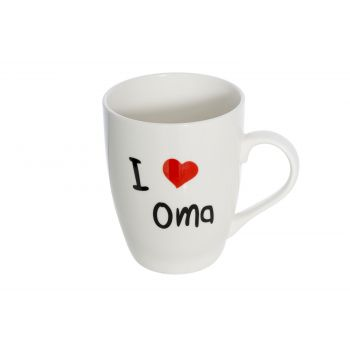 Cosy & Trendy Beker 'i Love Oma' D8.3xh10.5cm 36cl