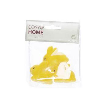 Cosy @ Home Konijn Set3 Flocked Geel 4,5x2xh4cm