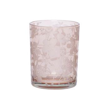 Cosy @ Home Theelichtglas Flowers Roze 7x7xh8cm