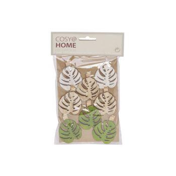 Cosy @ Home Clip Set8 Leaf 5cm Hout