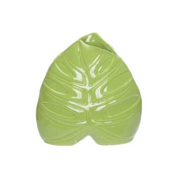 Cosy @ Home Vaas Leaf Groen 15x6,3xh15,3cm Porselein