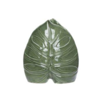 Cosy @ Home Vaas Leaf Groen 19,5x9,3xh22cm Porselein