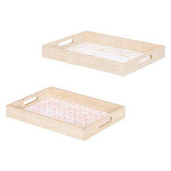 Cosy @ Home Dienblad Set2 Flower Roze 40x30xh5cm Rec
