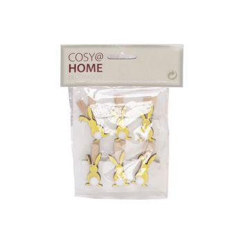 Cosy @ Home Clip Set6 Konijn Geel 4,5cm Hout