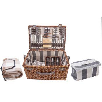 Cosy & Trendy Picknickmand 6p - Bestek-borden-glazen-