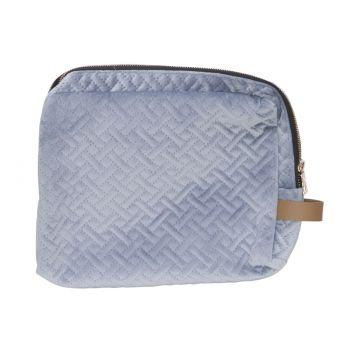 Cosy @ Home Toiletzak Velvet Blauw 25x5xh20cm Textie