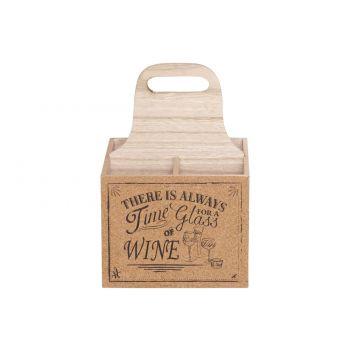 Cosy & Trendy Wijnfleshouder 18,5x18,5xh27cm Hout