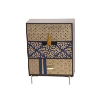 Cosy @ Home Kastje Gold Blauw 25x12,5xh34cm Hout