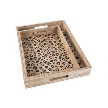 Cosy @ Home Dienblad Leopard Set2 Black  40x30x5