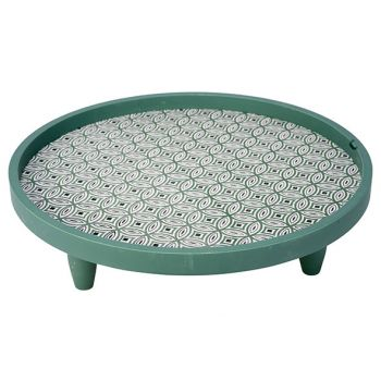 Cosy @ Home Plateau Groen 40x40xh11,5cm Rond Hout